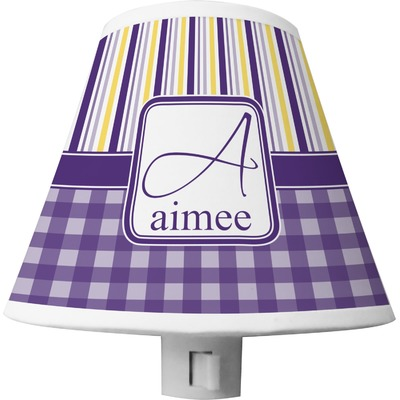 Purple Gingham & Stripe Shade Night Light (Personalized)