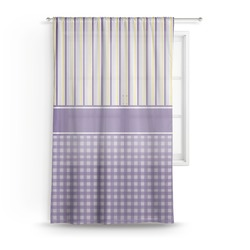 "Purple Gingham & Stripe Sheer Curtain - 50""x84"" (Personalized)"