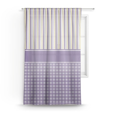 Purple Gingham & Stripe Sheer Curtains (Personalized)