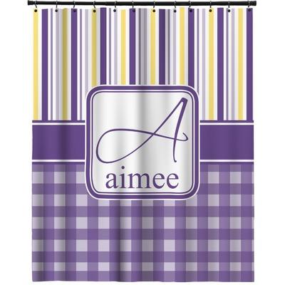 Purple Gingham Amp Stripe Extra Long Shower Curtain