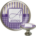 Purple Gingham & Stripe Cabinet Knob (Silver) (Personalized)