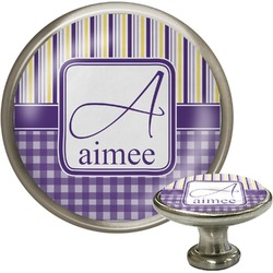 Purple Gingham & Stripe Cabinet Knobs (Personalized)
