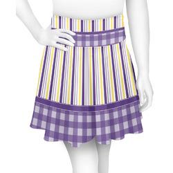 Purple Gingham & Stripe Skater Skirt (Personalized)