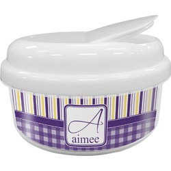 Purple Gingham & Stripe Snack Container (Personalized)