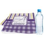 Purple Gingham & Stripe Sports & Fitness Towel (Personalized)