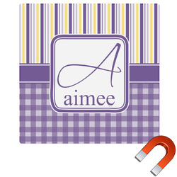 Purple Gingham & Stripe Square Car Magnet (Personalized)