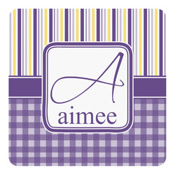 Purple Gingham & Stripe Square Decal - Medium (Personalized)