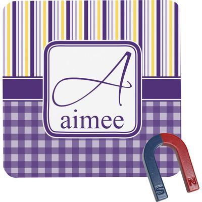 Purple Gingham & Stripe Square Fridge Magnet (Personalized)