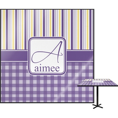 Purple Gingham & Stripe Square Table Top (Personalized)