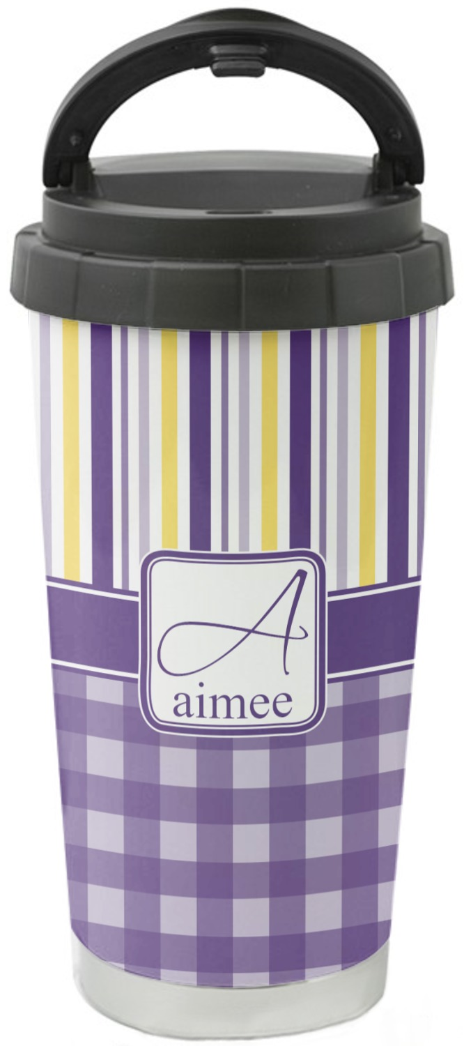 Purple Gingham Amp Stripe Stainless Steel Travel Mug