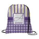 Purple Gingham & Stripe Drawstring Backpack (Personalized)