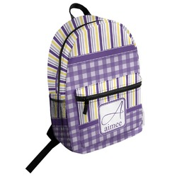 Purple Gingham & Stripe Student Backpack (Personalized)
