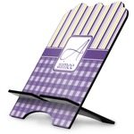 Purple Gingham & Stripe Stylized Tablet Stand (Personalized)