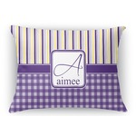 Purple Gingham & Stripe Rectangular Throw Pillow (Personalized)