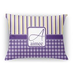 Purple Gingham & Stripe Rectangular Throw Pillow Case (Personalized)