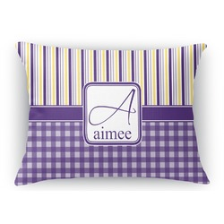 Purple Gingham & Stripe Rectangular Throw Pillow Case (Personalized)