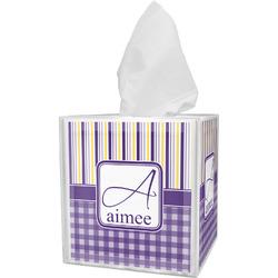 Purple Gingham & Stripe Tissue Box Cover (Personalized)