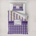 Purple Gingham & Stripe Toddler Bedding w/ Name and Initial