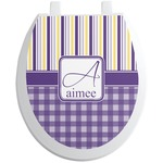 Purple Gingham & Stripe Toilet Seat Decal (Personalized)