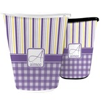 Purple Gingham & Stripe Waste Basket (Personalized)