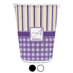 Purple Gingham & Stripe Waste Basket (Personalized)