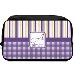 Purple Gingham & Stripe Toiletry Bag / Dopp Kit (Personalized)