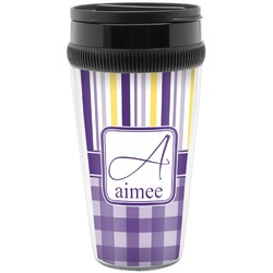 Purple Gingham & Stripe Travel Mug (Personalized)