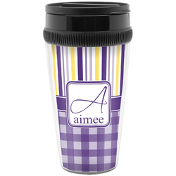 Purple Gingham & Stripe Travel Mugs (Personalized)