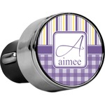 Purple Gingham & Stripe USB Car Charger (Personalized)