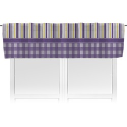 Purple Gingham & Stripe Valance (Personalized)