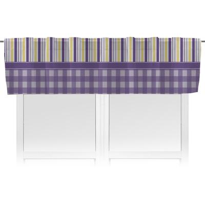Purple Gingham & Stripe Valance (Personalized)
