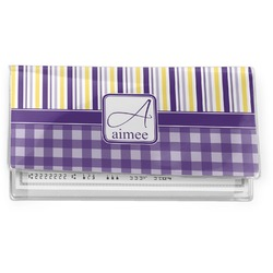 Purple Gingham & Stripe Vinyl Checkbook Cover (Personalized)