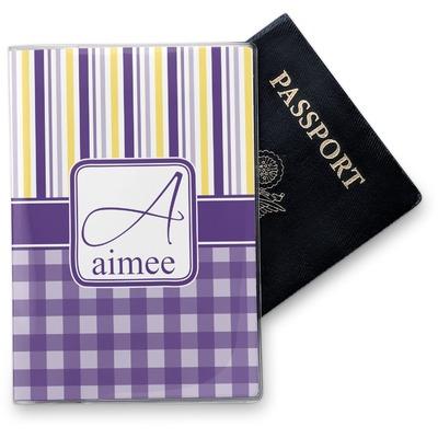 Purple Gingham & Stripe Vinyl Passport Holder (Personalized)