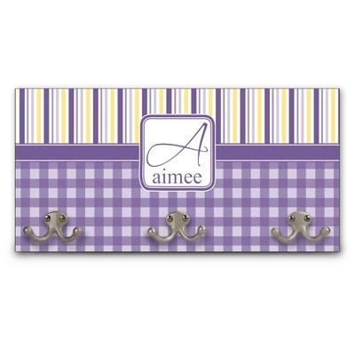 Purple Gingham & Stripe Wall Mounted Coat Rack (Personalized)