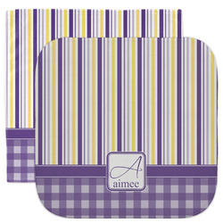 Purple Gingham & Stripe Facecloth / Wash Cloth (Personalized)