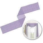Purple Gingham & Stripe Window Sheer Scarf Valance (Personalized)