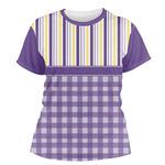 Purple Gingham & Stripe Women's Crew T-Shirt (Personalized)