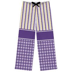 Purple Gingham & Stripe Womens Pajama Pants (Personalized)