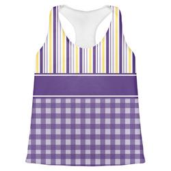 Purple Gingham & Stripe Womens Racerback Tank Top (Personalized)