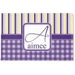 Purple Gingham & Stripe Woven Mat (Personalized)