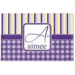 Purple Gingham & Stripe Woven Mat (Personalized)