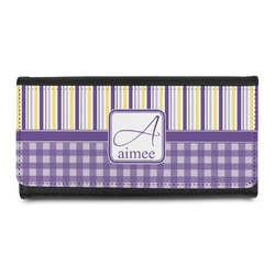 Purple Gingham & Stripe Leatherette Ladies Wallet (Personalized)
