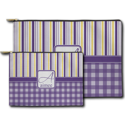 Purple Gingham & Stripe Zipper Pouch (Personalized)