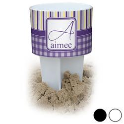 Purple Gingham & Stripe Beach Spiker Drink Holder (Personalized)