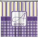 Purple Gingham & Stripe Shower Curtain (Personalized)
