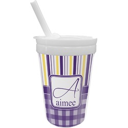 Purple Gingham & Stripe Sippy Cup with Straw (Personalized)
