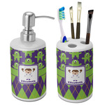 Astronaut, Aliens & Argyle Bathroom Accessories Set (Ceramic) (Personalized)