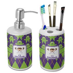 Astronaut, Aliens & Argyle Bathroom Accessories Set (Ceramic) (Personalized)