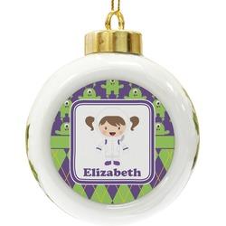 Astronaut, Aliens & Argyle Ceramic Ball Ornament (Personalized)