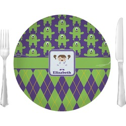 """Astronaut, Aliens & Argyle 10"""" Glass Lunch / Dinner Plates - Single or Set (Personalized)"""